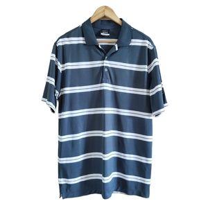 Nike Dri-fit Golf Striped Polo Short Sleeve Grey L